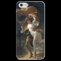 """Чехол для iPhone 5 глянцевый, с полной запечаткой """"Буря (Пьер Огюст Кот)"""" - кот, картина"""