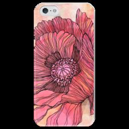 "Чехол для iPhone 5 глянцевый, с полной запечаткой ""Винтажный Мак"" - арт, цветы, узор, flower, винтаж, авторский, мак, vintage, poppy"