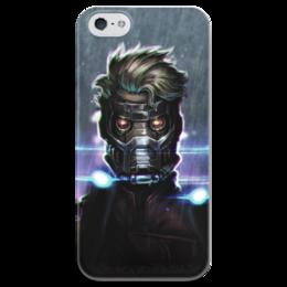 """Чехол для iPhone 5 глянцевый, с полной запечаткой """"Star lord"""" - комиксы, марвел, стражи галактики, guardians of the galaxy, звездный лорд"""