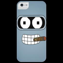 """Чехол для iPhone 5 глянцевый, с полной запечаткой """"Бендер"""" - арт, bender, futurama, футурама, сгибальщик сгибающий родригес, робот"""
