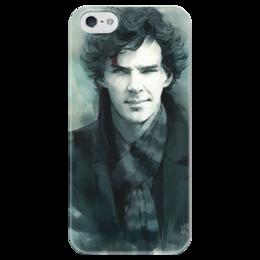 """Чехол для iPhone 5 глянцевый, с полной запечаткой """"Шерлок Холмс"""" - сериал, шерлок, холмс"""