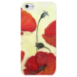 "Чехол для iPhone 5 глянцевый, с полной запечаткой ""Маки - акварель"" - цветы, red, flower, poppy"