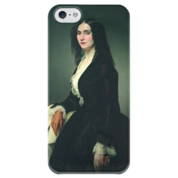 """Чехол для iPhone 5 глянцевый, с полной запечаткой """"Певица Матильда Джува-Бранка"""" - картина, айец"""