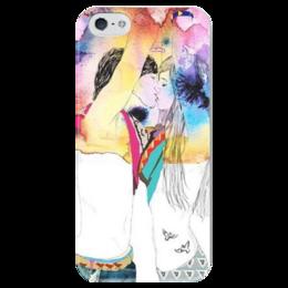 """Чехол для iPhone 5 глянцевый, с полной запечаткой """"Love -"""" - любовь, арт, 14 февраля, вместе, день влюбленных"""
