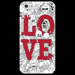 """Чехол для iPhone 5 глянцевый, с полной запечаткой """"Doodle Love """" - любовь, sketch, doodle"""