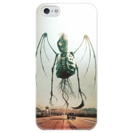 """Чехол для iPhone 5 глянцевый, с полной запечаткой """"Монстры Юга"""" - череп, рок, скелет, смерть, ужасы"""