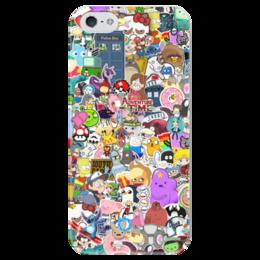"Чехол для iPhone 5 глянцевый, с полной запечаткой ""STICKERS"" - арт, дизайн, мульт, фэн-арт, аниме"