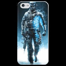"""Чехол для iPhone 5 глянцевый, с полной запечаткой """"Battlefield 4"""" - шутер, battlefield 4, поле битвы 4"""