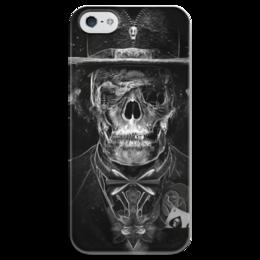 """Чехол для iPhone 5 глянцевый, с полной запечаткой """"Mr. Skull"""" - skull, череп, костюм, фокусник"""