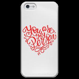 """Чехол для iPhone 5 глянцевый, с полной запечаткой """"You are my person"""" - 8 марта, my person, лучшая подруга, анатомия грей, мой человек"""