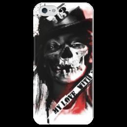 """Чехол для iPhone 5 глянцевый, с полной запечаткой """"треш полька"""" - skull, череп, тату, треш полька, trash polka"""