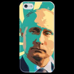 """Чехол для iPhone 5 глянцевый, с полной запечаткой """"Владимир Путин"""" - патриот, россия, путин, президент, putin"""