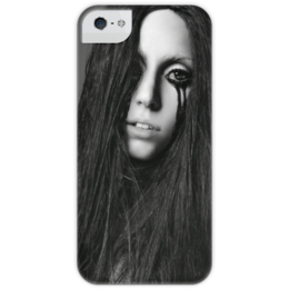 "Чехол для iPhone 5 глянцевый, с полной запечаткой ""Lady Gaga"" - gaga, lady gaga, леди гага, гага"