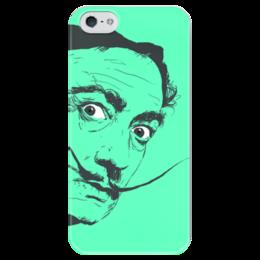 """Чехол для iPhone 5 глянцевый, с полной запечаткой """"Сальвадор Дали"""" - арт, красиво, стиль, глаза, рисунок, красота, сальвадор дали, зеленый, усы, знаменитость"""