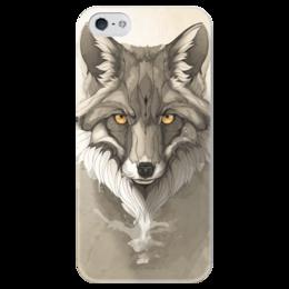 """Чехол для iPhone 5 глянцевый, с полной запечаткой """"Лиса """" - арт, fox, лиса"""