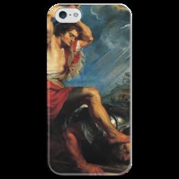 """Чехол для iPhone 5 глянцевый, с полной запечаткой """"Давид отрубает голову Голиафу (Картина Рубенса)"""" - картина, библия, рубенс"""