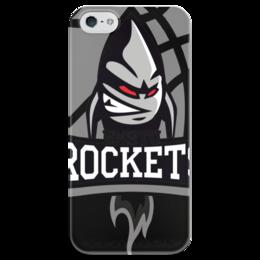 "Чехол для iPhone 5 глянцевый, с полной запечаткой ""BMSTU Rockets black edition "" - мгту, бауманские ракеты"