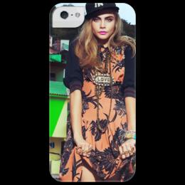 """Чехол для iPhone 5 глянцевый, с полной запечаткой """"Кара Делевинь"""" - звезды, фото, model, модель, cara delevingne, кара делевинь"""