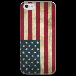 "Чехол для iPhone 5 глянцевый, с полной запечаткой ""Флаг США"" - америка, usa, флаг, сша"
