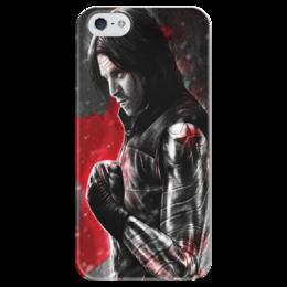"""Чехол для iPhone 5 глянцевый, с полной запечаткой """"Зимний солдат, Баки / Bucky"""" - рисунок, марвел, зимний солдат"""