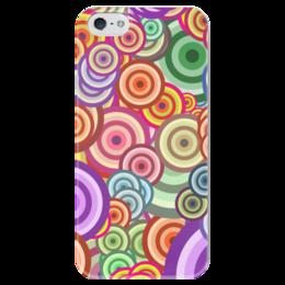 """Чехол для iPhone 5 глянцевый, с полной запечаткой """"Цветные круги"""" - узор, стиль, абстракция, круги, орамент"""