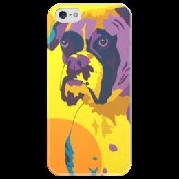 """Чехол для iPhone 5 глянцевый, с полной запечаткой """"boxer"""" - dog, боксер, boxer, немецкий боксер"""