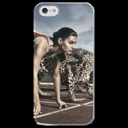 """Чехол для iPhone 5 глянцевый, с полной запечаткой """"девушка и гепард"""" - девушка, бег, скорость, speed, гепард, run"""