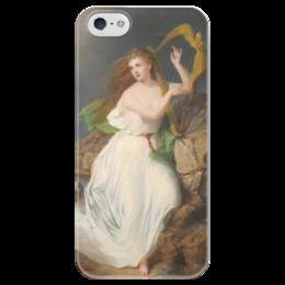 """Чехол для iPhone 5 глянцевый, с полной запечаткой """"Арфа Эрин (картина Томаса Бьюкенена Рида)"""" - ирландия, картина, рид"""