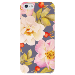 """Чехол для iPhone 5 глянцевый, с полной запечаткой """"ШИПОВНИК НА СИНЕМ"""" - rose, flower, акварель, watercolor, шиповник"""