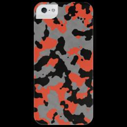 """Чехол для iPhone 5 глянцевый, с полной запечаткой """"Quick Response camo"""" - камуфляж, camo, camouflage, battlefiled 4, quick response, red and black"""