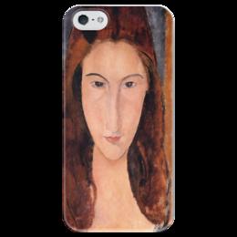 """Чехол для iPhone 5 глянцевый, с полной запечаткой """"Портрет Жанны Эбютерн"""" - картина, модильяни"""