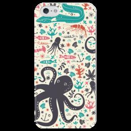 """Чехол для iPhone 5 глянцевый, с полной запечаткой """"Морской Патруль"""" - море, рыбы, осьминог, океан"""