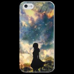 """Чехол для iPhone 5 глянцевый, с полной запечаткой """"Галактика"""" - девушка, space, stars, night, космос, лес, деревья, sky, абстракция, звёзды"""