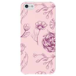 "Чехол для iPhone 5 глянцевый, с полной запечаткой ""Осенний сад "" - цветы, pink, осенний сад"