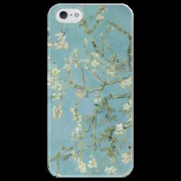 "Чехол для iPhone 5 глянцевый, с полной запечаткой ""Цветы миндаля (Almond Blossom)"" - картина, ван гог"