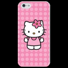 """Чехол для iPhone 5 глянцевый, с полной запечаткой """"Kitty в горошек"""" - мультик, hello kitty, мультфильм, для детей, привет китти"""