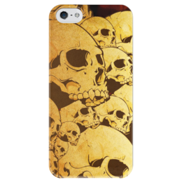 """Чехол для iPhone 5 глянцевый, с полной запечаткой """"Черепа"""" - skull, череп, sticker, наклейка"""
