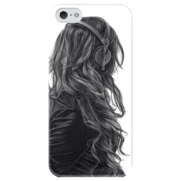 """Чехол для iPhone 5 глянцевый, с полной запечаткой """"Girl"""" - girl, брюнетка, nice, headphones, наушники"""