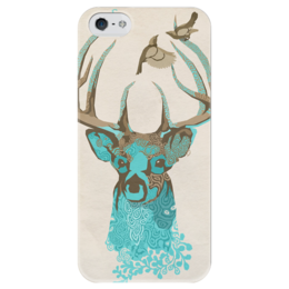"""Чехол для iPhone 5 глянцевый, с полной запечаткой """"Арт-олень"""" - олень, deer"""