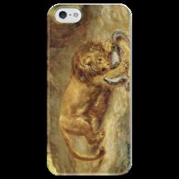 """Чехол для iPhone 5 глянцевый, с полной запечаткой """"Лев и кайман"""" - картина, делакруа"""