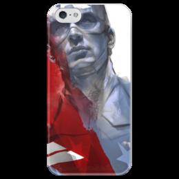 """Чехол для iPhone 5 глянцевый, с полной запечаткой """"Капитан Америка"""" - комиксы, кэп, марвел, captain america, стив роджерс"""