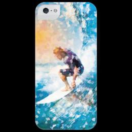 """Чехол для iPhone 5 глянцевый, с полной запечаткой """"Без названия"""" - арт, спорт, море, волна, путешествия, калифорния, серфинг, surfing, австралия, digital art"""
