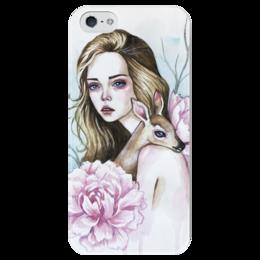 """Чехол для iPhone 5 глянцевый, с полной запечаткой """"Девушка с оленем"""" - девушка, цветы, деревья, олень, олененок"""
