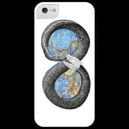 """Чехол для iPhone 5 глянцевый, с полной запечаткой """"карта Мира."""" - змея, earth, planet, map, the world, атлас"""