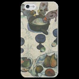 """Чехол для iPhone 5 глянцевый, с полной запечаткой """"Натюрморт с тремя щенками"""" - картина, поль гоген"""