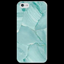 "Чехол для iPhone 5 глянцевый, с полной запечаткой ""Голубой мрамор."" - голубой, мрамор, бирюзовый, камень"