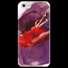 """Чехол для iPhone 5 глянцевый, с полной запечаткой """"Акварель"""" - red, красный, акварель"""