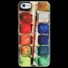 """Чехол для iPhone 5 глянцевый, с полной запечаткой """"Художник"""" - краски, акварель, палитра"""