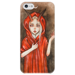 """Чехол для iPhone 5 глянцевый, с полной запечаткой """"Дьявол"""" - девушка, дьявол, сатанизм, люцифер"""