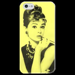 """Чехол для iPhone 5 глянцевый, с полной запечаткой """"Одри Хепбёрн"""" - ретро, audrey hepburn, одри хепбёрн"""